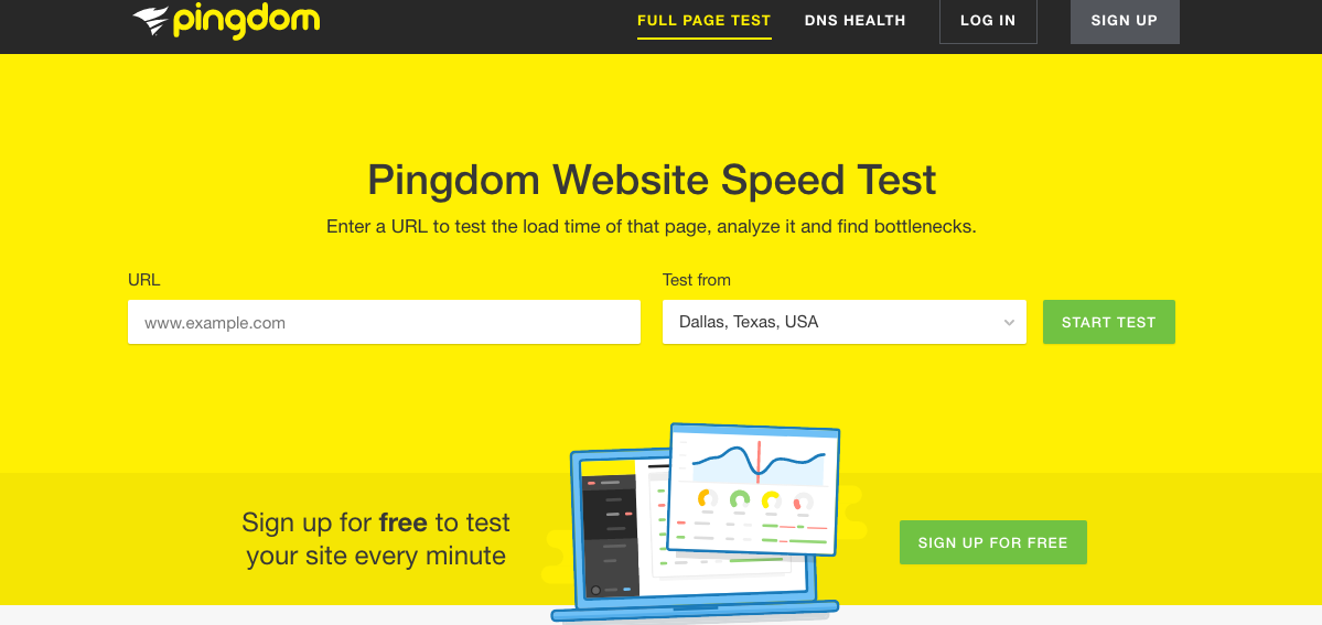 Website speed test : pingdome