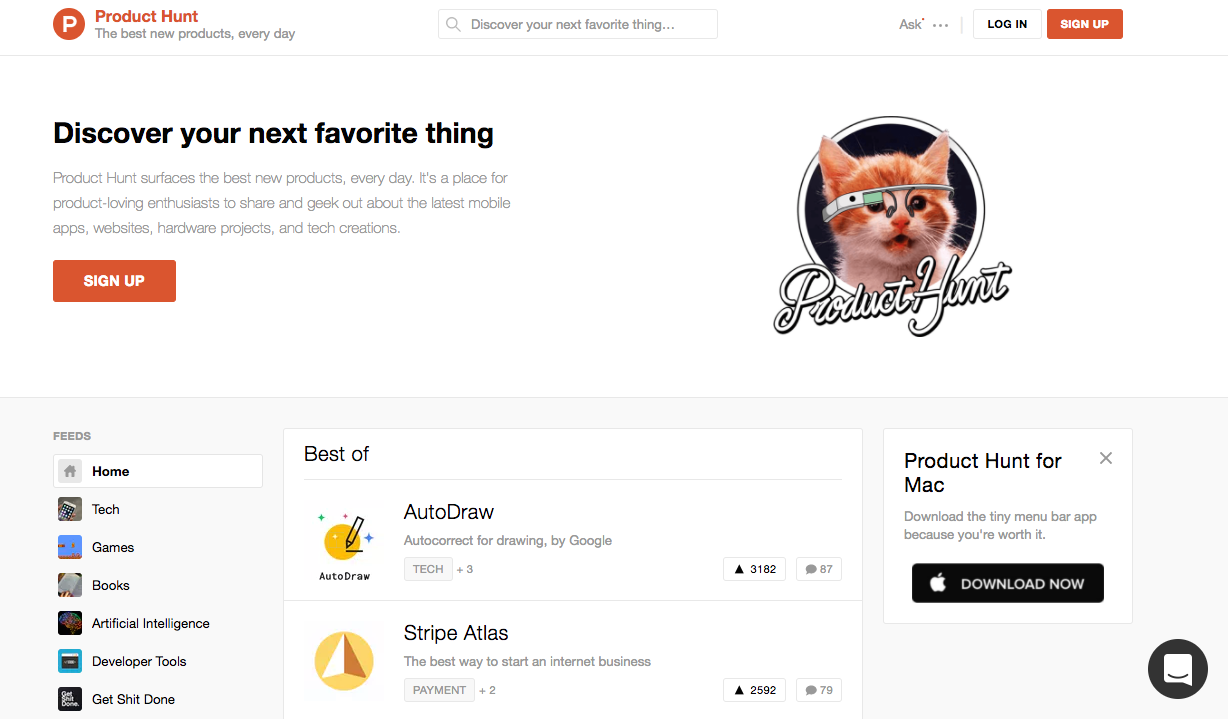 Product Hunt Website Dashboard