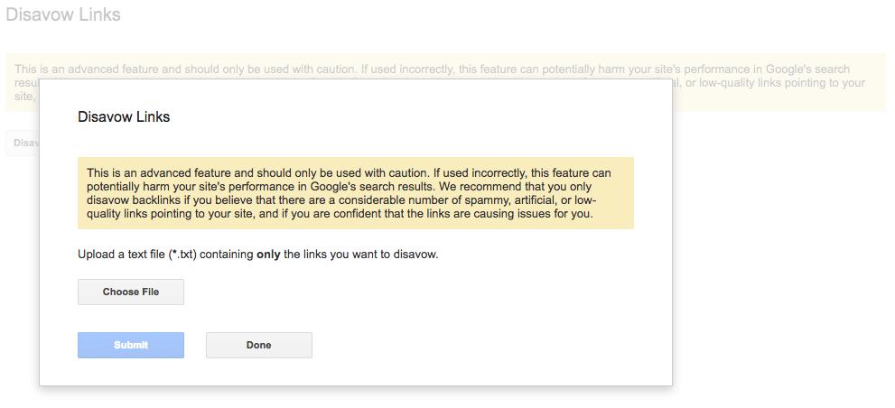 Google toxic link disavow