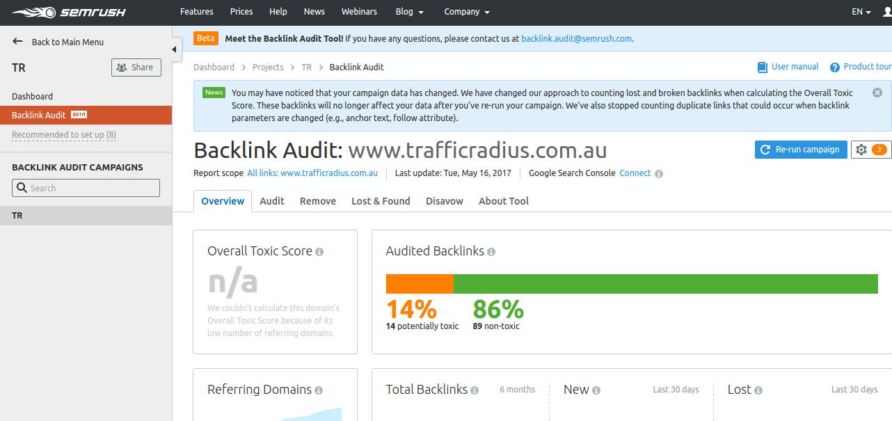 Semrush Backlink Audit : Toxic link and Clean links